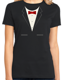 Ladies Black Black Tuxedo - Funny Tux Costume Gag Gift Wedding Prom Party T-shirt