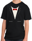 Youth Black Black Tuxedo - Funny Tux Costume Gag Gift Wedding Prom Party T-shirt