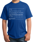 Youth Royal Blue Screen Of Death - IT Humor Tech Joke Computer Engineer Nerd T-shirt