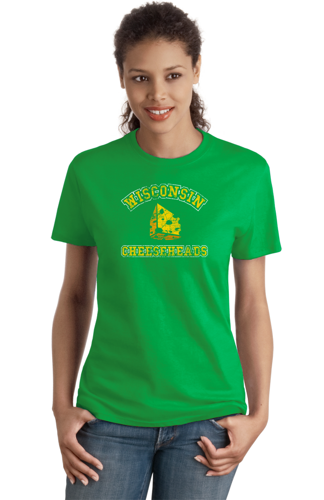 Ladies Green Cheesehead - Wisconsin Pride Raised on the Dairy T-shirt