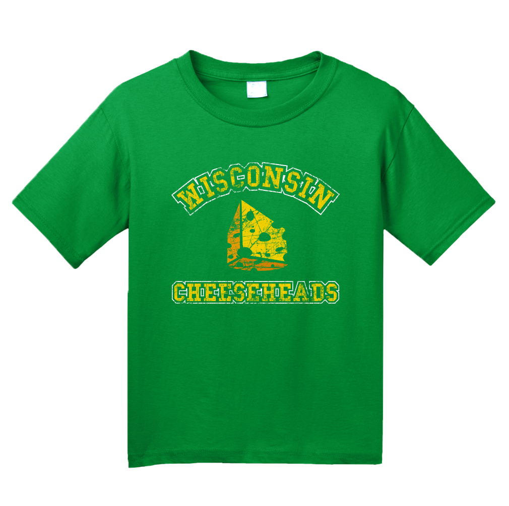 Youth Green Cheesehead - Wisconsin Pride Raised on the Dairy T-shirt