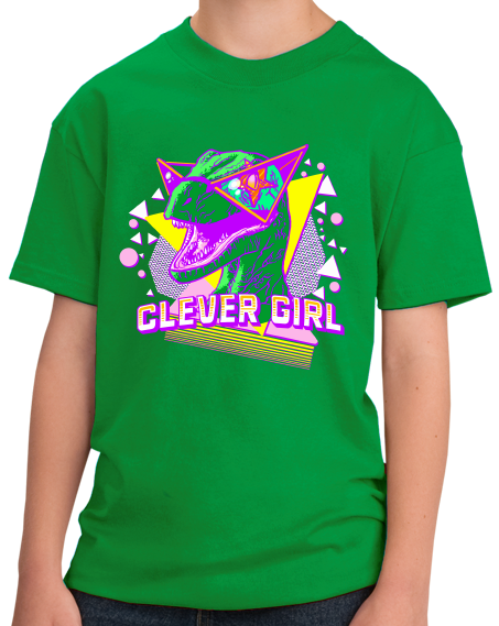Youth Green Clever Girl - Radical 90s Raptor - Dinosaur Rampage Fan T-shirt