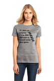 Ladies Grey DNA Helicase - Unzip Your Genes - Nerd Humor Geek Pick-Up Line T-shirt