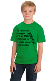 Youth Green DNA Helicase - Unzip Your Genes - Nerd Humor Geek Pick-Up Line T-shirt
