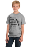 Youth Grey DNA Helicase - Unzip Your Genes - Nerd Humor Geek Pick-Up Line T-shirt