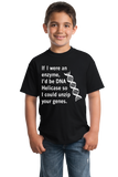 Youth Black DNA Helicase - Unzip Your Genes - Nerd Humor Geek Pick-Up Line T-shirt