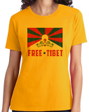 Ladies Gold Free Tibet - Tibetan Solidarity Protest Human Rights Awareness T-shirt