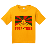 Youth Gold Free Tibet - Tibetan Solidarity Protest Human Rights Awareness T-shirt
