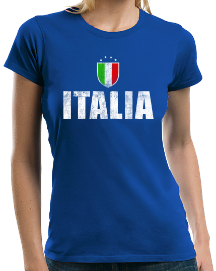 Ladies Royal Italia / Italy Soccer - Italian Pride Love World Cup Futbol Fan T-shirt