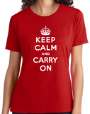 Ladies Red Keep Calm And Carry On - London Blitz WW2 History Churchill T-shirt