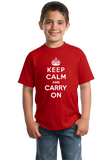 Youth Red Keep Calm And Carry On - London Blitz WW2 History Churchill T-shirt