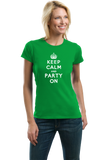 Ladies Green Keep Calm And Party On - St. Patrick's Day Funny Party T-shirt