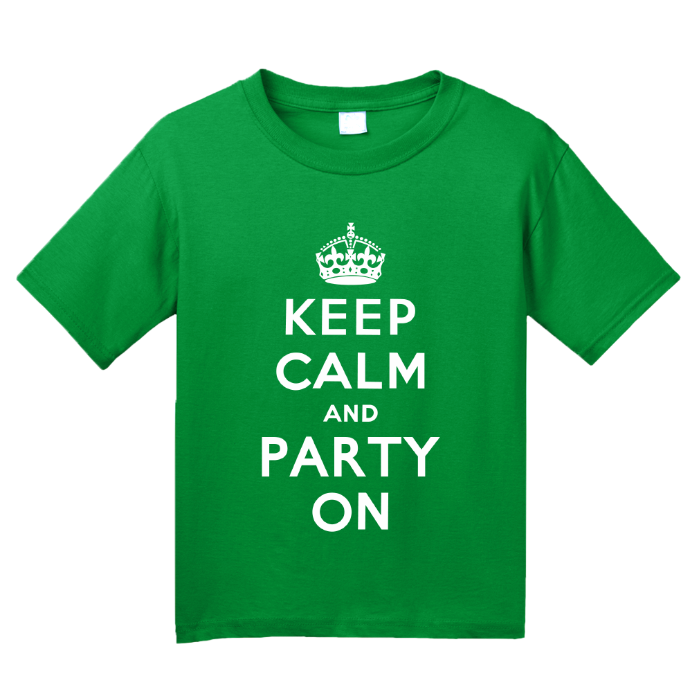 Youth Green Keep Calm And Party On - St. Patrick's Day Funny Party T-shirt
