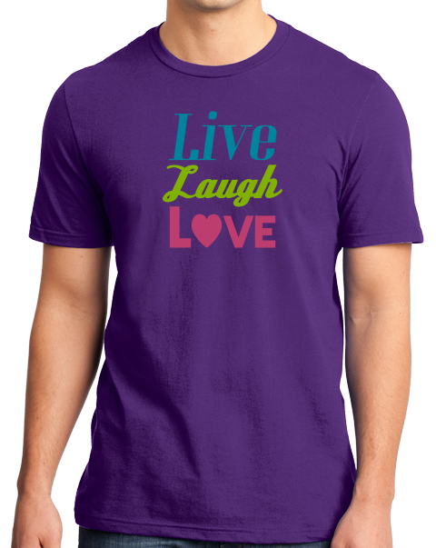Standard Purple Live, Laugh, Love - Positive Message Advice Quote Mom Gift T-shirt