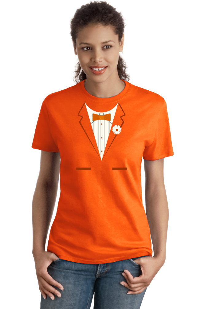 Ladies Orange Orange Tuxedo - Funny Easy Costume Party Wedding Prom T-shirt