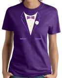 Ladies Purple Purple Tuxedo - Silly Gag Prom Wedding Tux Party Funny T-shirt