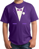 Youth Purple Purple Tuxedo - Silly Gag Prom Wedding Tux Party Funny T-shirt