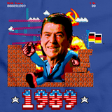EPIC RONALD REAGAN PUNCHING THROUGH BERLIN WALL TEE Royal Blue art preview
