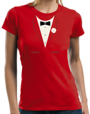 Ladies Red Red Tuxedo - Silly Gag Prom Wedding Tux Party Funny T-shirt