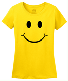 Ladies Yellow Smiley Face (Smile) ! - Happy Optimist Cheerful Sunny T-shirt