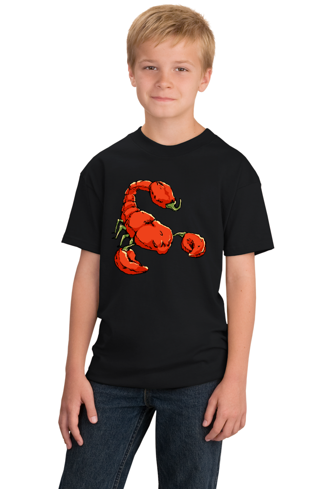 Youth Black Trinidad Moruga Scorpion Pepper - Pepper Fan Hot Spicy Foodie T-shirt