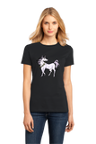 Ladies Black Bad Ass Horse With Super Sharp Spike In Head - Unicorn Awesome T-shirt