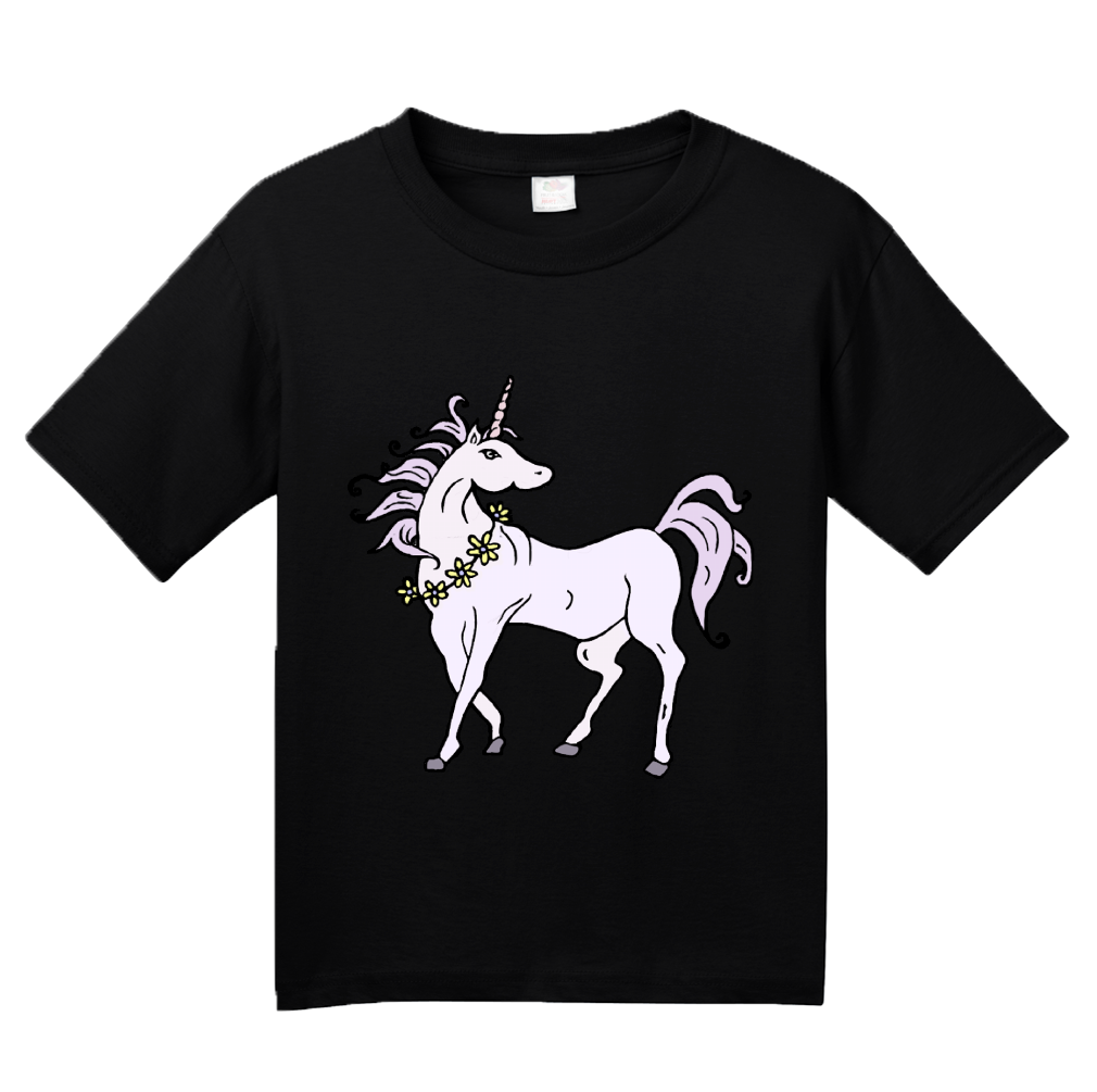 Youth Black Bad Ass Horse With Super Sharp Spike In Head - Unicorn Awesome T-shirt