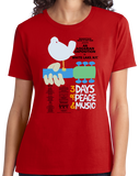 Ladies Red WOODSTOCK POSTER TEE T-shirt