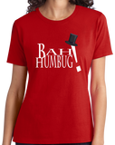 Ladies Red Bah Humbug! - Cranky Old Man Santa Christmas Humor Scrooge T-shirt