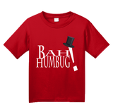 Youth Red Bah Humbug! - Cranky Old Man Santa Christmas Humor Scrooge T-shirt