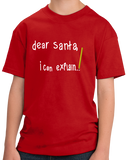 Youth Red Penitent Santa Note - Santa Begging Christmas Humor Explanation T-shirt
