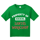 Youth Green Property Of Santa's Workshop - Santa Helper Elf Cute Christmas T-shirt