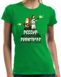 Ladies Green Defend Christmas! - Christmas Christ In Jesus Santa Fun Humor T-shirt