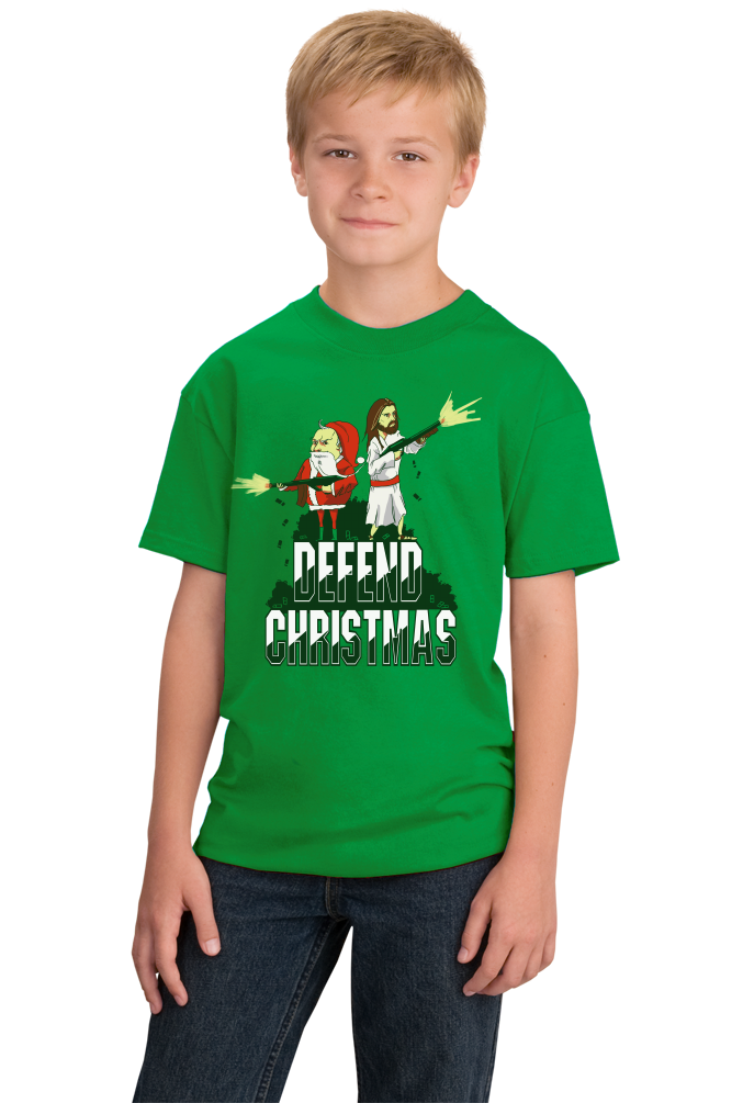 Youth Green Defend Christmas! - Christmas Christ In Jesus Santa Fun Humor T-shirt
