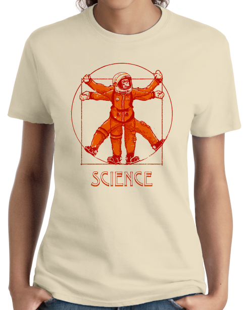 Ladies Natural Vitruvian Chimpanzee Science Tee T-shirt