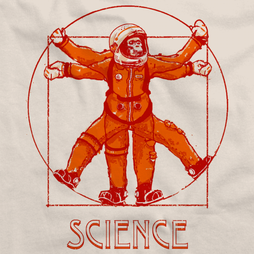 Vitruvian Chimpanzee Science Tee Natural Art Preview