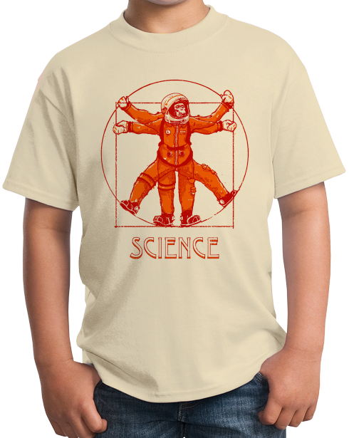Youth Natural Vitruvian Chimpanzee Science Tee T-shirt