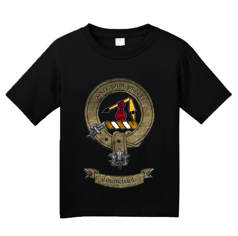 Youth Black Clan Carmichael - Scottish Pride Heritage Family Clan Carmichael T-shirt