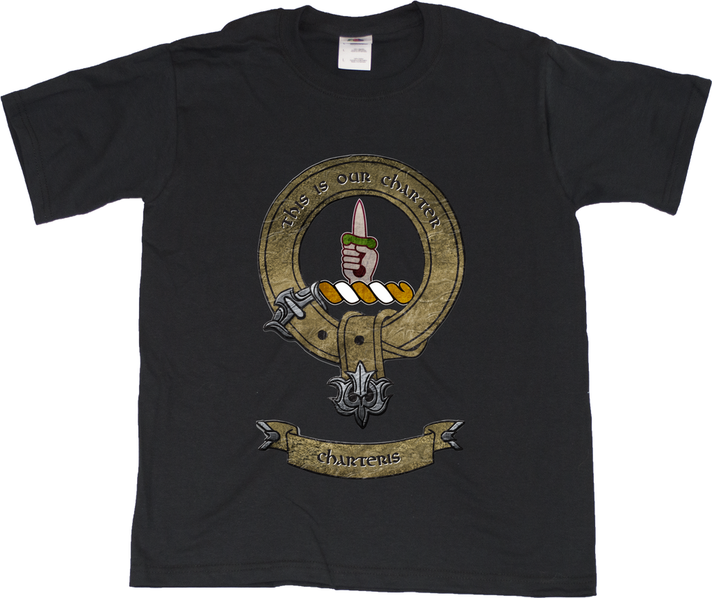 Youth Black Clan Charteris - Scottish Pride Heritage Ancestry Clan Charteris T-shirt