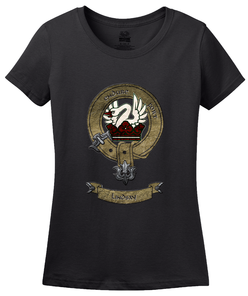 Ladies Black Lindsay Clan - Scottish Heritage Coat of Arms Clan Lindsay T-shirt