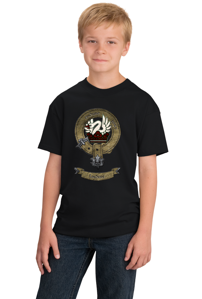 Youth Black Lindsay Clan - Scottish Heritage Coat of Arms Clan Lindsay T-shirt