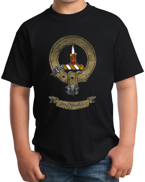 Youth Black Macdowall Clan - Scottish Pride Heritage Clan Macdowall T-shirt