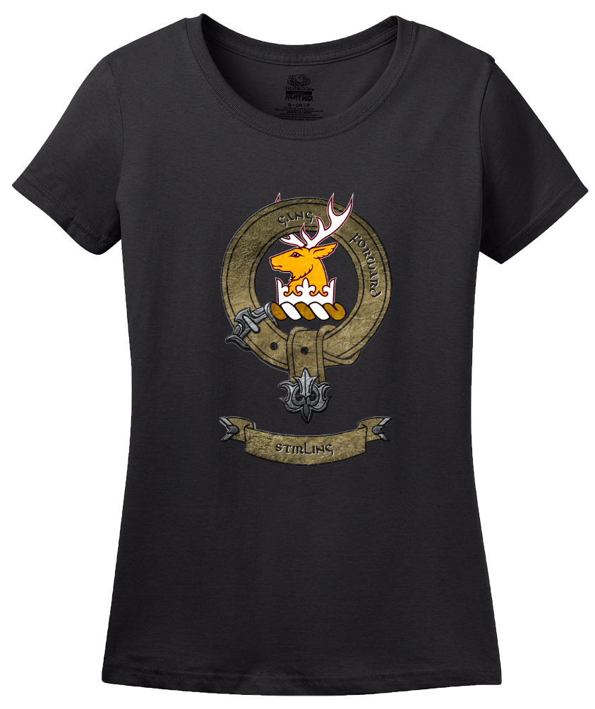 Ladies Black Clan Stirling - Scottish Pride Heritage Family Clan Stirling T-shirt