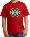 Youth Red Snowflake Icon - Cute Skiing Winter Snow Bunny Snowboarder T-shirt