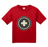 Youth Red Retro Snow Patrol - Winter Mountain Medic Pride EMT Skier T-shirt