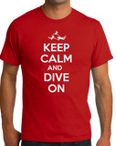 Unisex Red Keep Calm And Dive On - Fun Skydiving Parachuter Advice Joke T-shirt