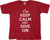 Youth Red Keep Calm And Dive On - Fun Skydiving Parachuter Advice Joke T-shirt