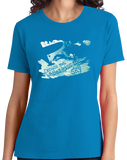 Ladies Aqua Blue Excuse Me While I Kiss The Sky - Skydiving Extreme Sports Funny T-shirt