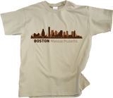 Youth Natural Boston, Ma City Skyline - Beantown Pride Patriots Red Sox Love T-shirt