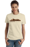 Ladies Natural Charlotte, NC City Skyline - Charlotte Pride Carolina Panthers T-shirt